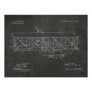 1906 Wright Brothers Airplane Patent Art Drawing Poster