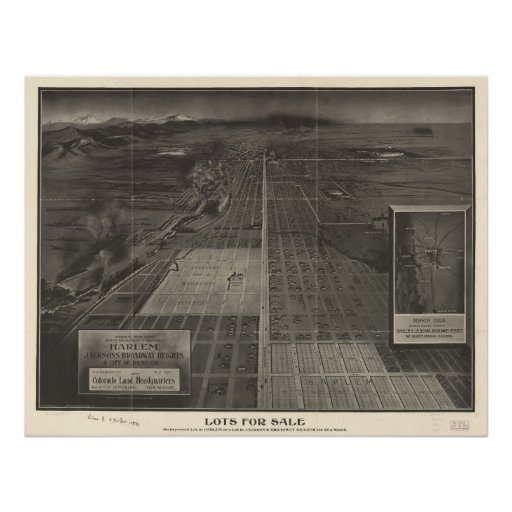 1907 Denver, CO Birds Eye View Panoramic Map Poster