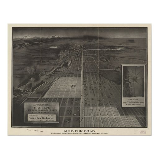 1907 Denver, CO Birds Eye View Panoramic Map Print