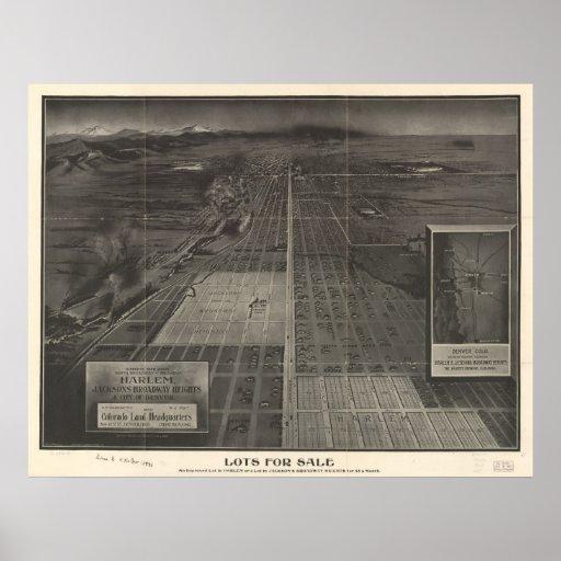 1907 Denver, mapa panorámico de la opinión de ojo  Posters