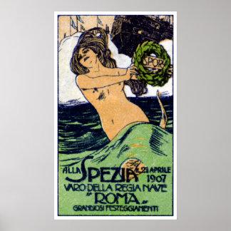 1907 Italian Battleship Roma Poster