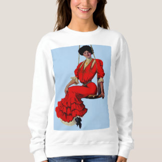 1907 pretty lady on a swing t-shirt