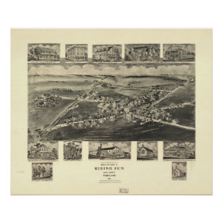 1907 Rising Sun, MD Birds Eye View Panoramic Map Poster