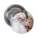 1907 Santa with Holly Crown and Girl Button