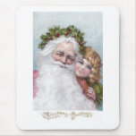 1907 Santa with Holly Crown and Girl Mouse Pad