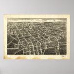 1907 Statesville, mapa panorámico de la opinión de Poster