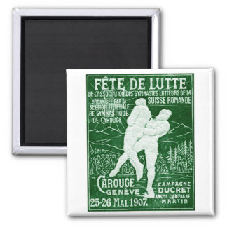1907 Swiss Wrestling 2 Inch Square Magnet
