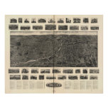 1907 Torrington CT Birds Eye View Panoramic Map Poster