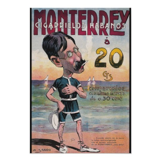 1907 Vintage Monterrey Cigar Advertisement Poster