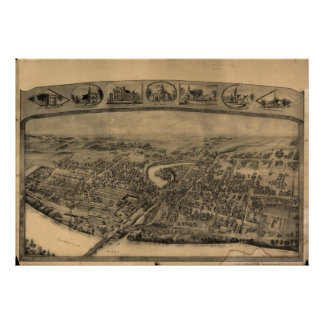 1908 Enfield CT Birds Eye View Panoramic Map Poster