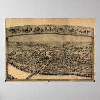 1908 Enfield CT Birds Eye View Panoramic Map Print