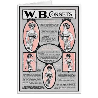 "1908 MAGAZINE MINI  ""REDUSO"" CORSET AD GREETING CARD"