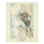 1908 Map of Seattle--Archival Paper Posters