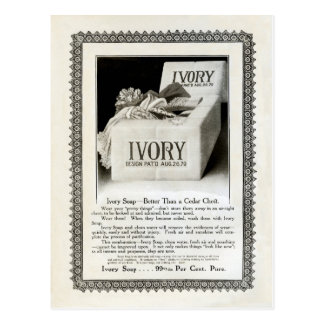 """1908! """"SPRING CLEAN"""" LACE TRIMMED IVORY SOAP  AD POSTCARD"""