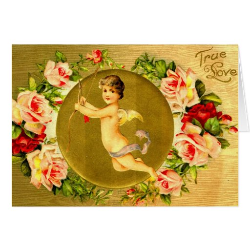 1908 True Love and Cupid Valentine Love Greeting Card