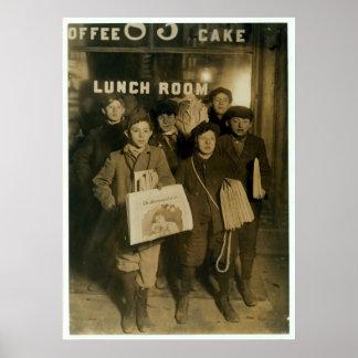 1908 vendedores de periódicos que venden los perió posters