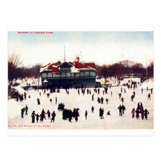 1908 Vintage Skating at Lincoln Park, Chic Post Cards