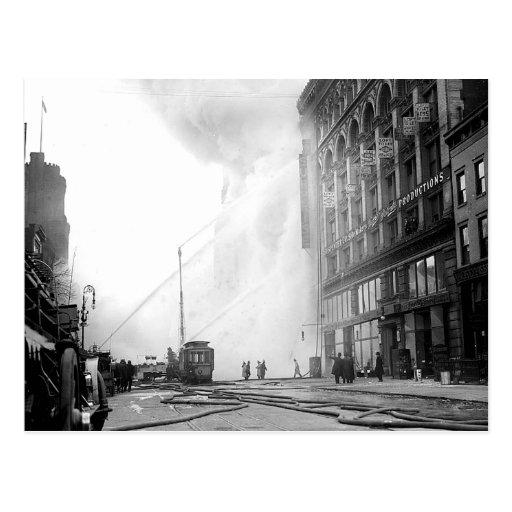 1909 14ta postal del fuego del st Nueva York