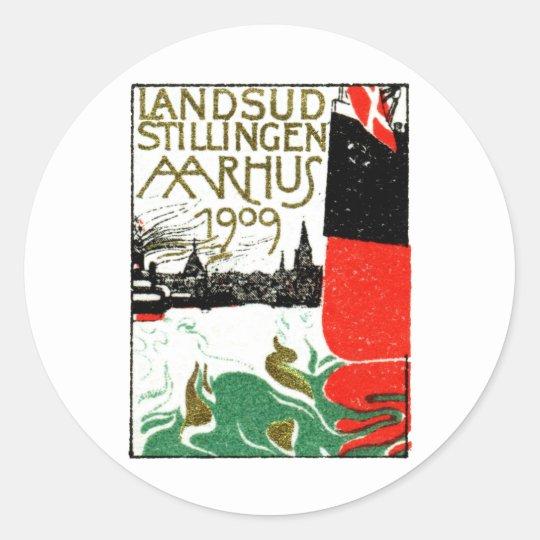 1909 Aarhus Denmark Exposition Poster Classic Round Sticker