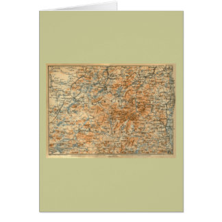 1909 Adirondacks Map from Baedeker s Travel Guide Greeting Cards