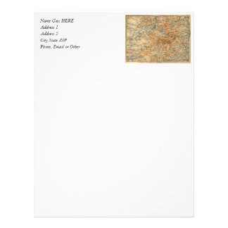 1909 Adirondacks Map from Baedeker s Travel Guide Custom Letterhead