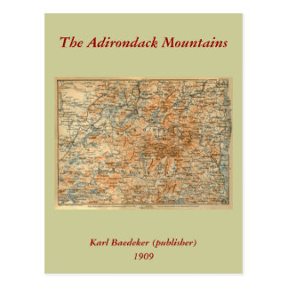 1909 Adirondacks Map from Baedeker s Travel Guide Post Card