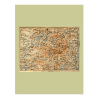 1909 Adirondacks Map from Baedeker s Travel Guide Postcards