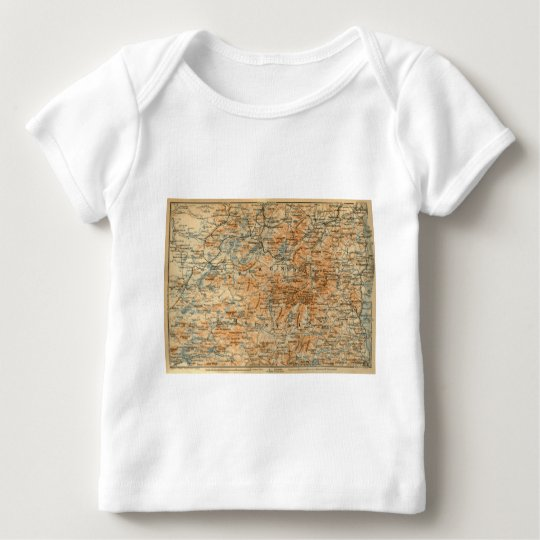 1909 Adirondacks Map from Baedeker's Travel Guide Baby T-Shirt