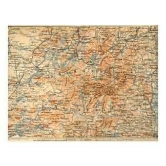1909 Adirondacks Map from Baedeker's Travel Guide Flyer Design