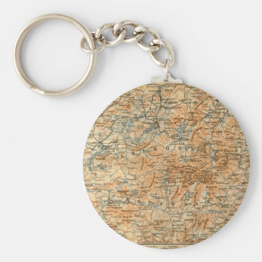 1909 Adirondacks Map from Baedeker's Travel Guide Keychain