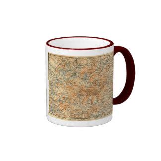 1909 Adirondacks Map from Baedeker's Travel Guide Ringer Coffee Mug