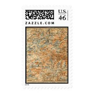 1909 Adirondacks Map from Baedeker's Travel Guide Postage Stamp