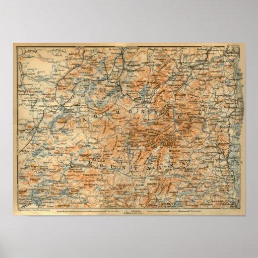 1909 Adirondacks Map from Baedeker's Travel Guide Poster
