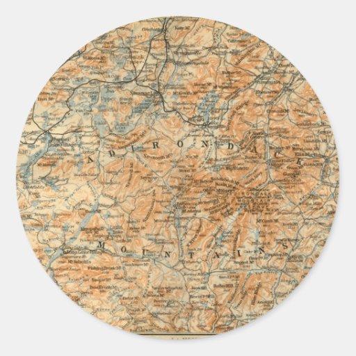 1909 Adirondacks Map from Baedeker's Travel Guide Sticker