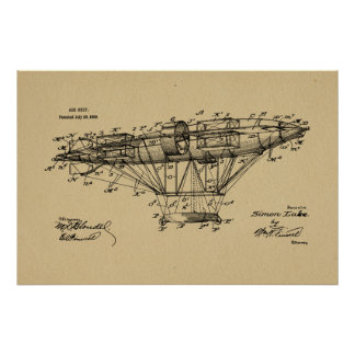 1909 Airship Aeroship Patent Drawing Art Print