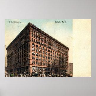 1909 cuadrado de Ellicott del vintage, búfalo, NY Póster