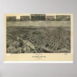 1909 Garfield, mapa panorámico de la opinión de oj Posters