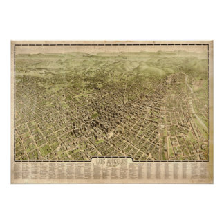 1909 Los Angeles, CA Birds Eye View Panoramic Map Poster