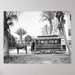 1909 Palm Beach Florida Trolley Poster