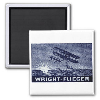 1909 Wright Brothers Aircraft 2 Inch Square Magnet
