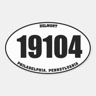 19104 Belmont Phila PA oval stickers