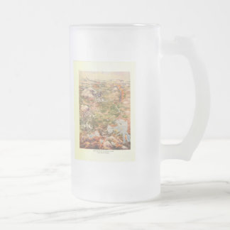 1910 Aerial View Map - Yellowstone National Park Frosted Glass Beer Mug