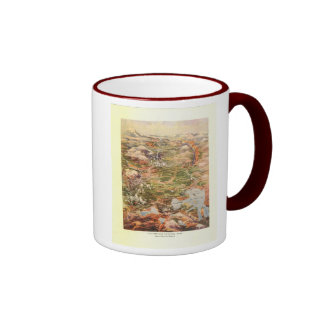 1910 Aerial View Map - Yellowstone National Park Ringer Mug