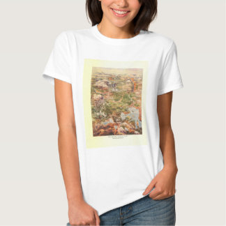 1910 Aerial View Map - Yellowstone National Park T Shirt