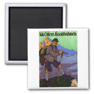 1910 Austrian Hiking Poster 2 Inch Square Magnet