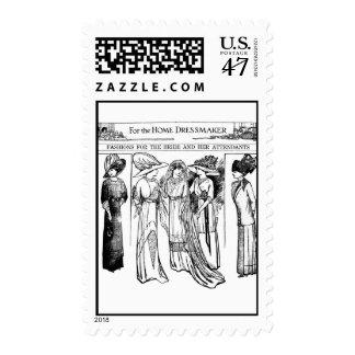 1910 Bride and Attendants Fashion Art Postage