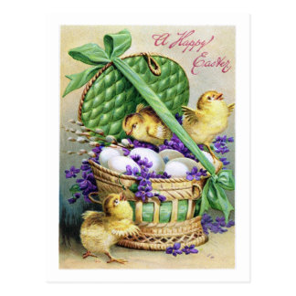"1910! ""CHICKIE GRAM"" SPRING BASKET EASTER CHICKS POSTCARD"