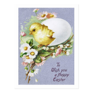 "1910! ""CHICKIE GRAM"" SPRING DAISIES EASTER CHICK POSTCARD"