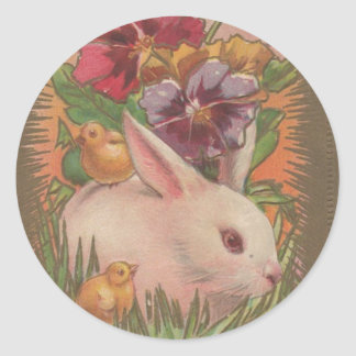 1910 Easter Bunny Classic Round Sticker