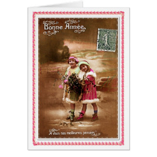 1910 French Happy new Year by 2 cute little girls Greeting Cards